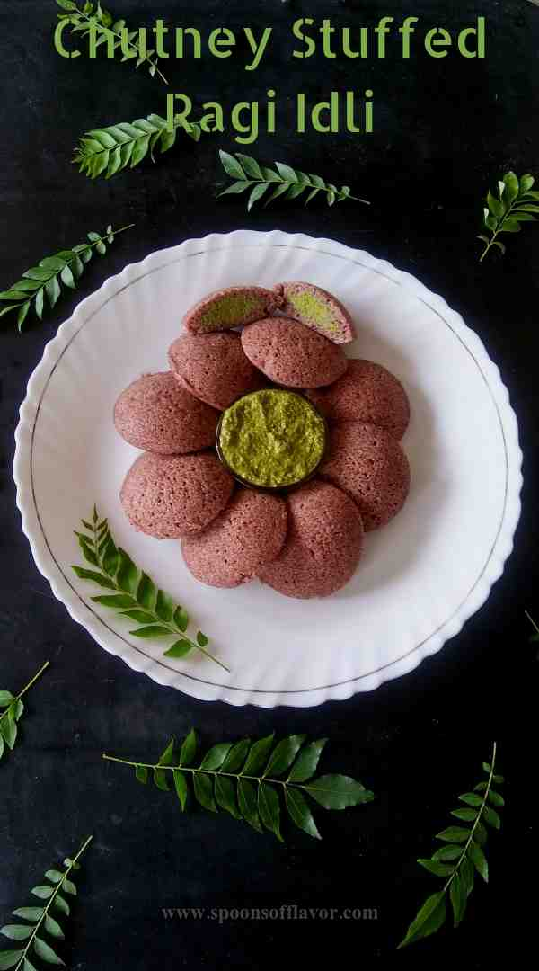 Chutney stuffed ragi idli recipe
