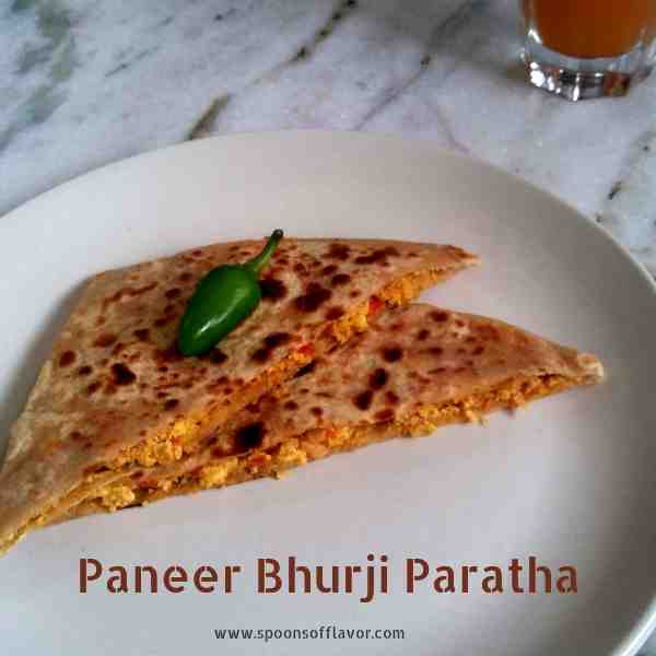Light and healthy paneer bhurji paratha