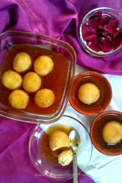Spongy, melt-in-mouth cheese balls in an aromatic jaggery syrup.