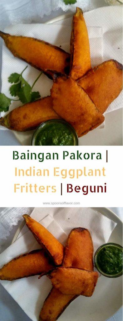 Baingan pakora, Indian eggplant fritters, Beguni