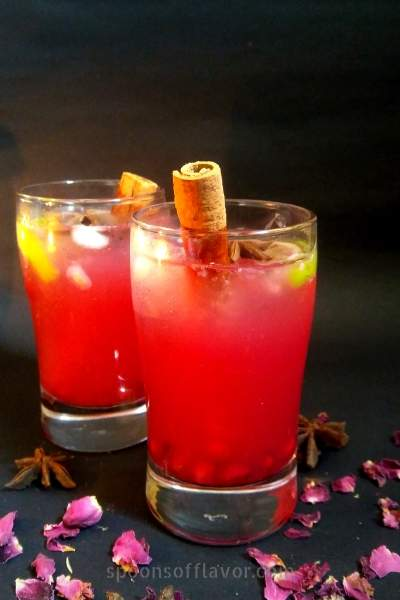An easy, refreshing, and delicious pomegranate mocktail drink.