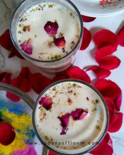 It is an Indian traditional, festive drink made with milk, nuts and exotic spices. A cool, refreshing drink which tastes heavenly.