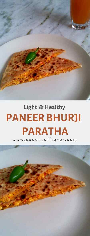 Light Healthy Paneer Bhurji Paratha