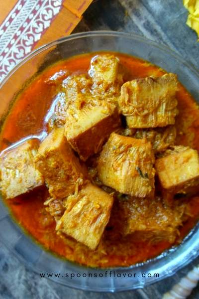 This curry is made with Kathal or unripe, young jackfruit. A delicious, flavorful, and lightly spiced recipe.