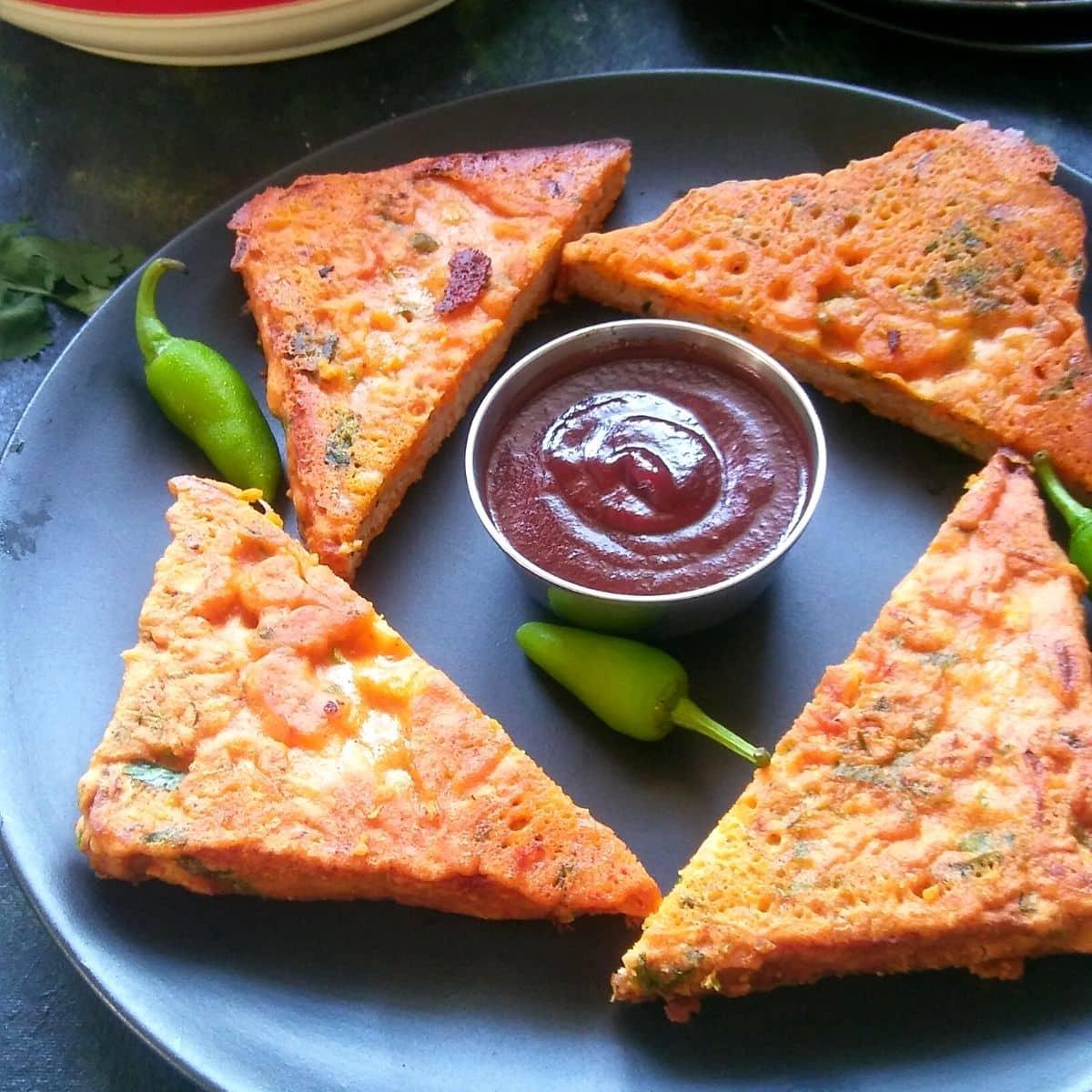 Crispy Besan Bread Toast On Tawa